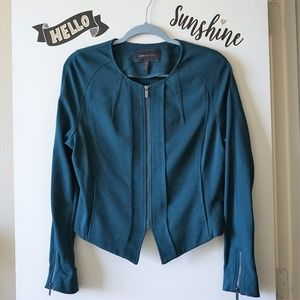 BCBG Asymmetrical Cropped Zip Up Green Blazer L